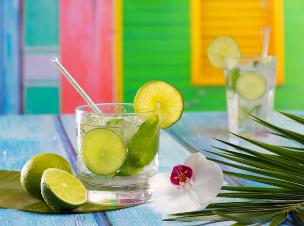 Cuban mojito cocktail in tropical blue wood flowers