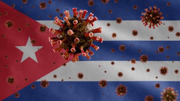 쿠바 흔들며 깃발 및 코로나 바이러스 현미경 바이러스