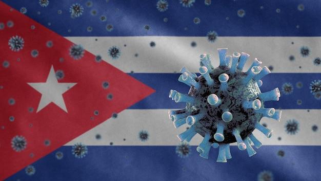 Cuban waving flag and coronavirus microscope virus