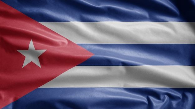 Cuban waving flag in the wind