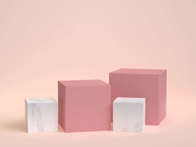 Cube-box pink marble set minimal cream 3d rendering
