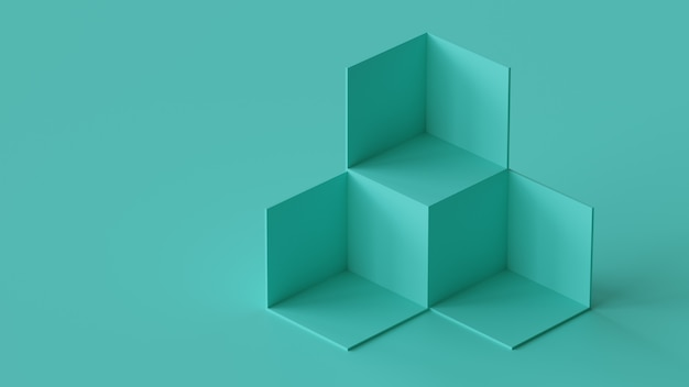 Cube boxes backdrop display on blank wall background. 3d rendering.