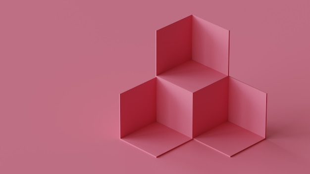 빈 벽 배경에 큐브 상자 배경 표시. 3d 렌더링.