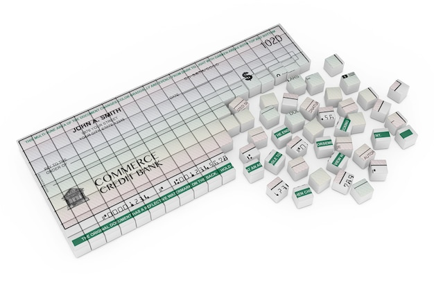 Cube boxes forming blank banking check on a white background. 3d rendering