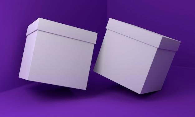 紫の背景の上の立方体の段ボール箱