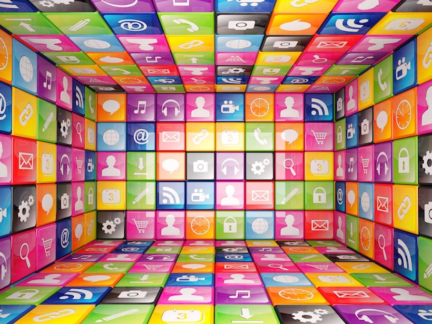 Куб состоит из элементов с иконками разных цветов