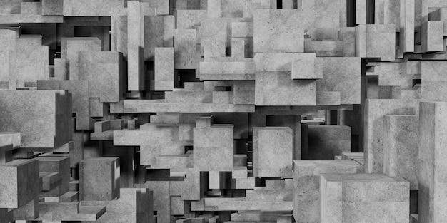 큐브 구성 다각형 추상 건축 배경 콘크리트 3d 렌더링의 추상 기하학