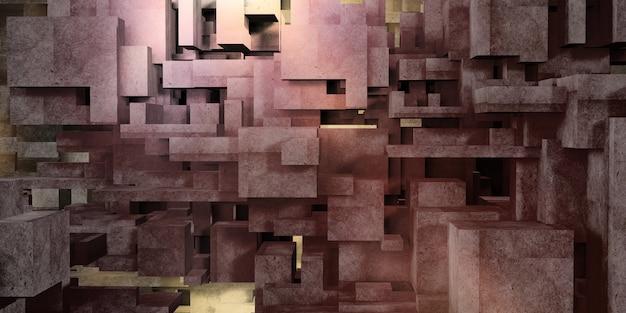 Cube concrete multicolored background architecture polygon geometry concrete surface 3d rendering