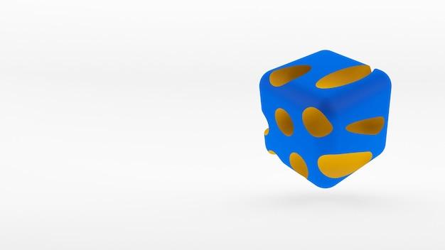 흰색 바탕에 큐브 아이소 메트릭 로고 개념입니다. 3d 렌더링.
