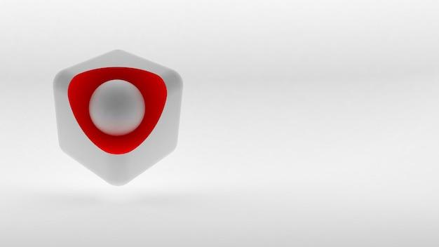 白い表面上のキューブアイソメトリックロゴの概念