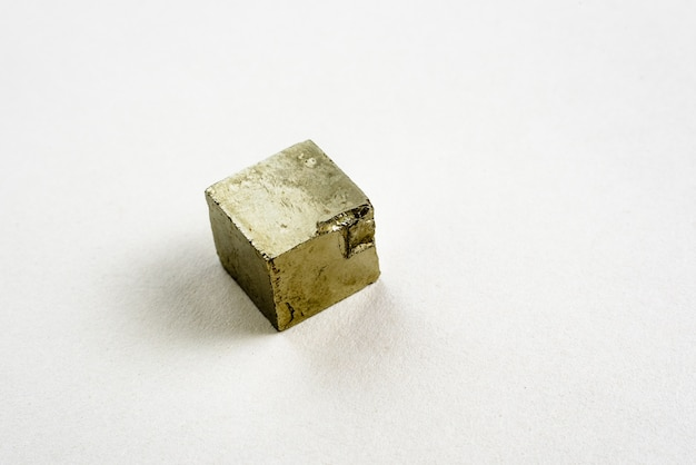 Cube of mineral pyrite