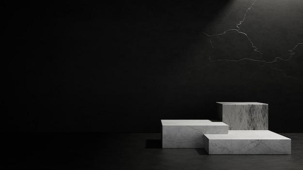 추상적으로 비어 있는 어두운 콘크리트 방 내부의 큐브 받침대. 3d 렌더링 그림