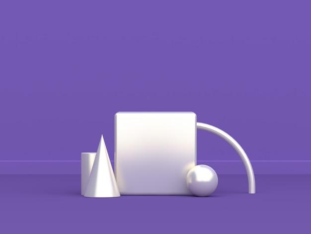 큐브 연단 기하학적 인 흰색 모양 최소한의 추상 보라색 보라색 3d 렌더링