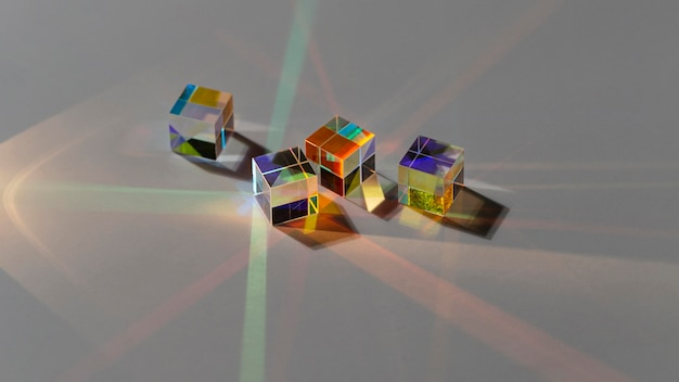 Cube prisms with abstract with rays