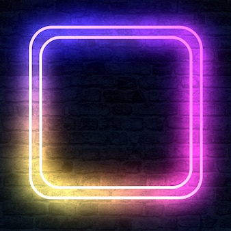Cube shaped empty neon sign with illumination on brick wall in 3d rendering