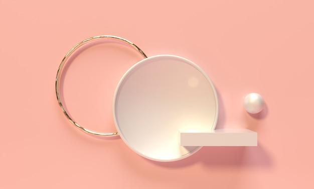 큐브 흰색 받침대, 선반 및 분홍색 배경에 틈새 시장