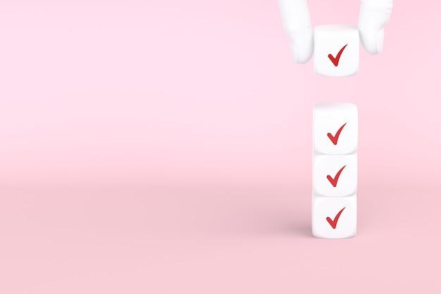 분홍색 배경에 확인 표시가 있는 큐브, 체크리스트 개념, 공간 복사. 3d 렌더링