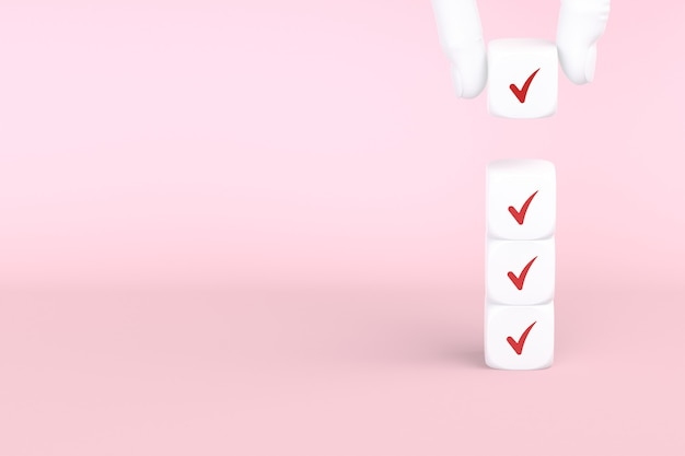 Cube with check mark on pink background, checklist concept, copy space. 3d rendering