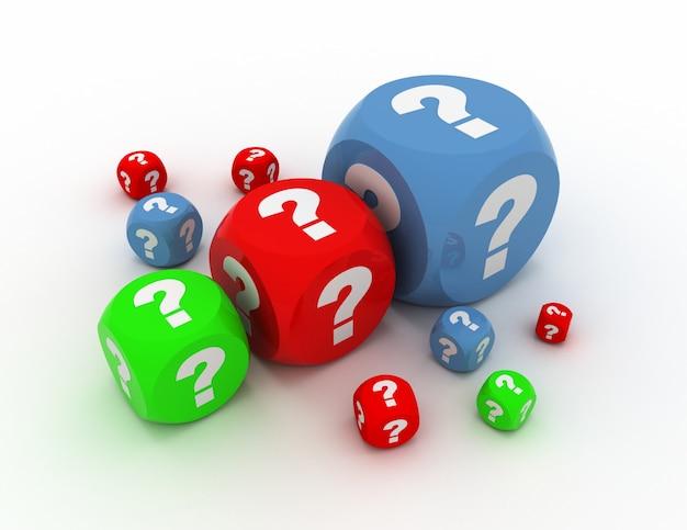 질문이 있는 큐브. 3d 그림