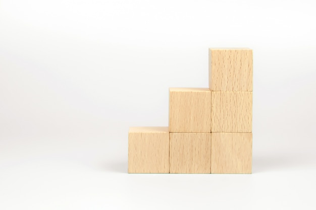 Cube wooden block toy stacked without graphics.