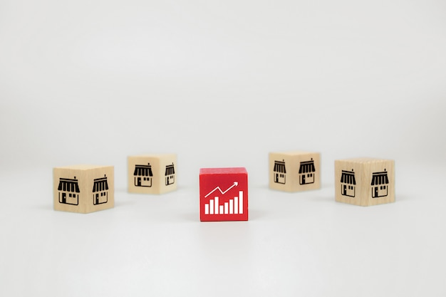 그래프 아이콘 및 프랜차이즈 비즈니스 스토어와 큐브 나무 장난감 블로그