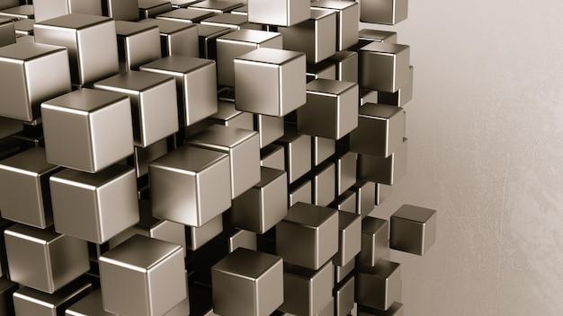 Агрегация кубиков на сером фоне