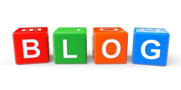 Cubes blocks with blog sign on a white background