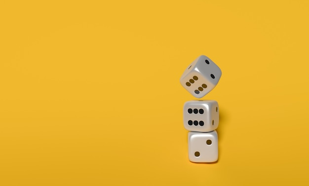 Cubes dices 3d rendering on yellow background.