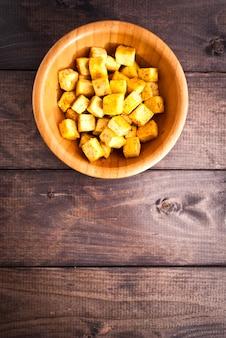 Cubes of fried tofu