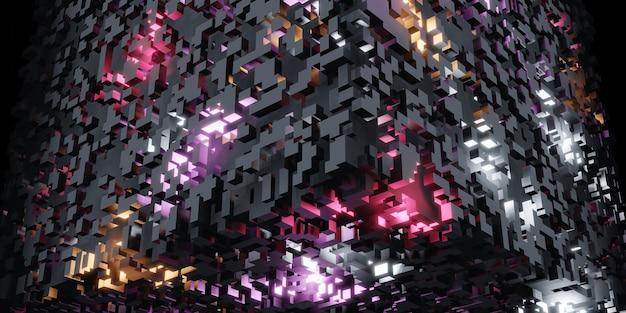 Cubes pixels rubiks cube isometric abstract geometric digital data concept complex structure 3d
