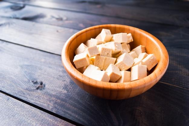 Cubes of raw tofu