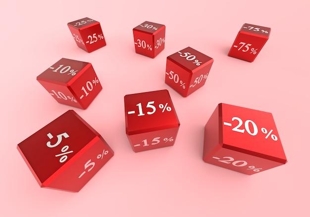 Продаются кубики с разными скидками. цифры с процентами