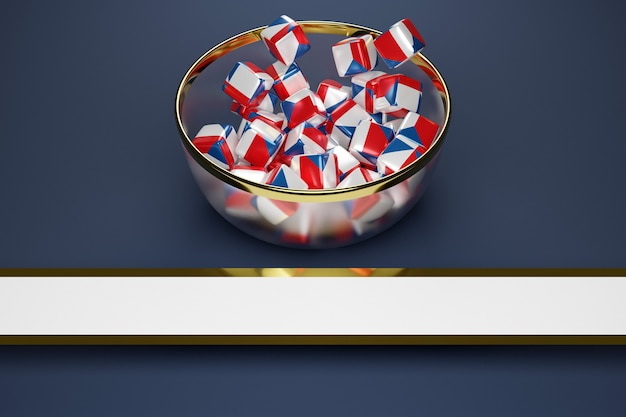 Cubes with the image of the national flag of czech