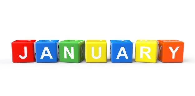 1月のサインが白い背景にあるキューブ