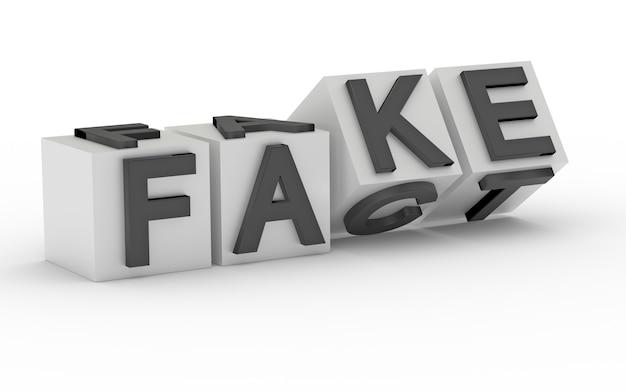 文字のある立方体が裏返しになり、単語がfactからfakeに変わります。 3dレンダリング