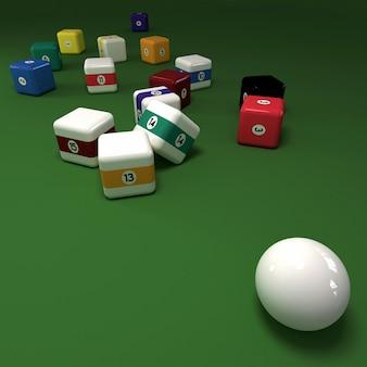 緑のフェルトテーブル上のキュービックビリヤードボール