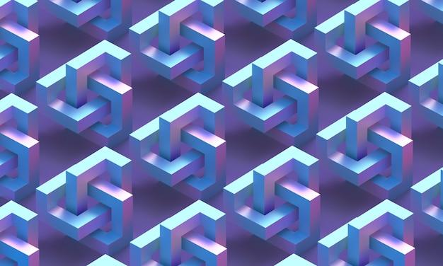 파란색과 자홍색 무한 도형 패턴의 입방 기하학