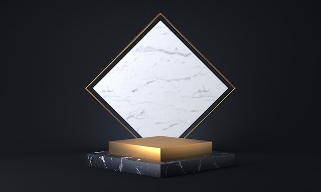 Cubic marble and golden pedestal on a dark background. 3d rendering