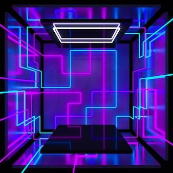 A cubic room with a glow of light on the walls