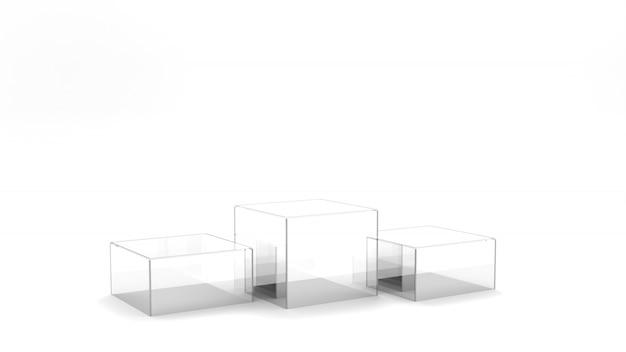 Стеклянный пьедестал кубической формы