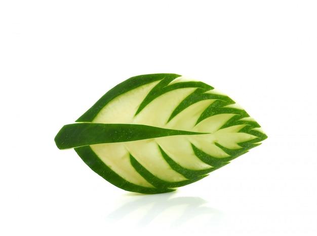 Cucumber carved into leaf shape