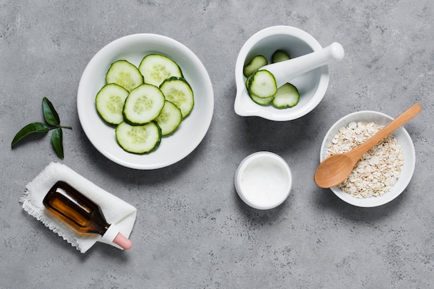 Cucumber and cream for healthy and relaxed mind