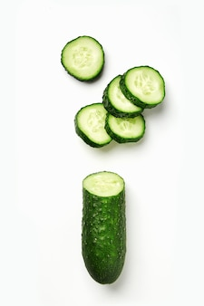 Cucumber isolated. sliced natural cucumber