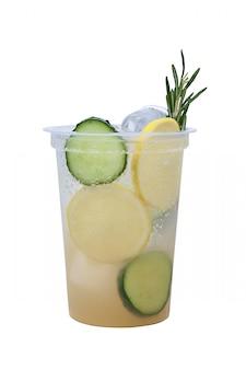 Cucumber and lemon lemonade in plastic take away glass