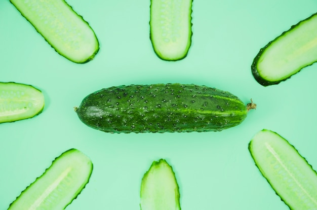 Cucumber slices from top view