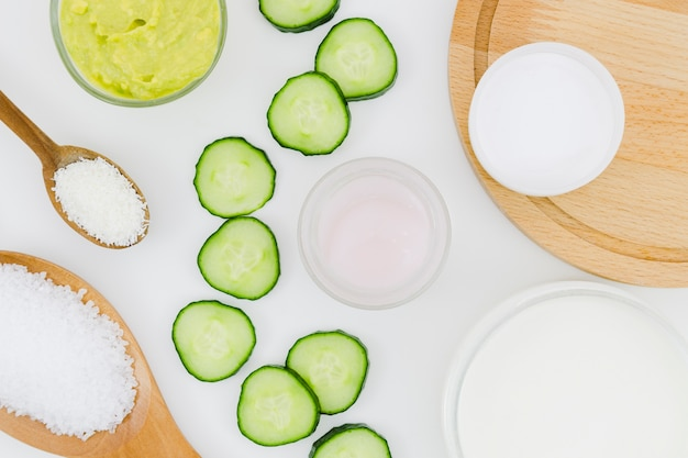 Cucumber slices with beauty cream