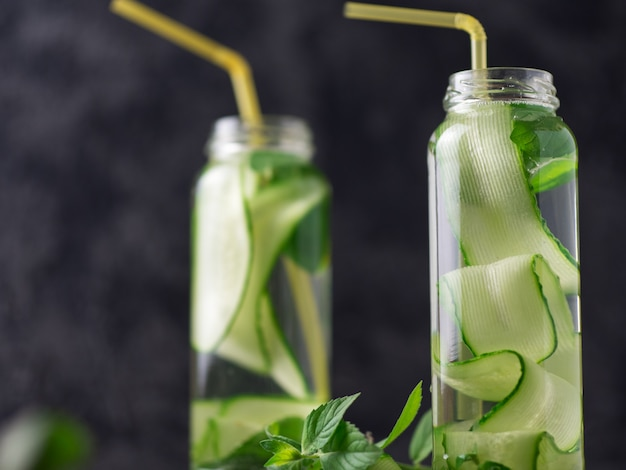 Cucumber water with mint in the glass . refreshing detox drink