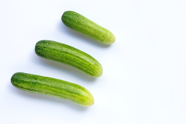 Cucumbers isolated on white background. copy space