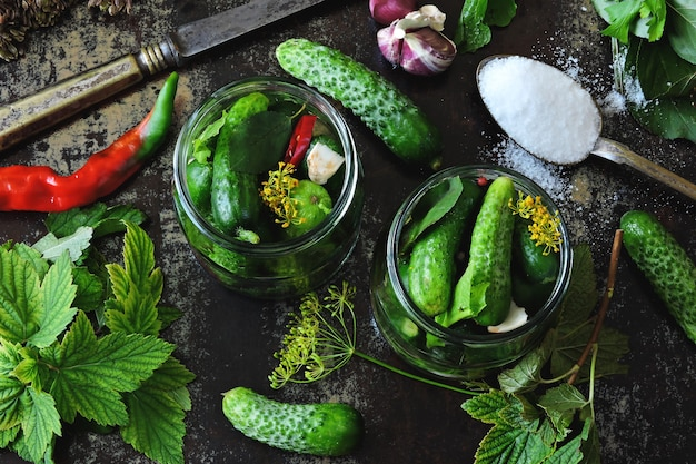 Cucumbers in jars