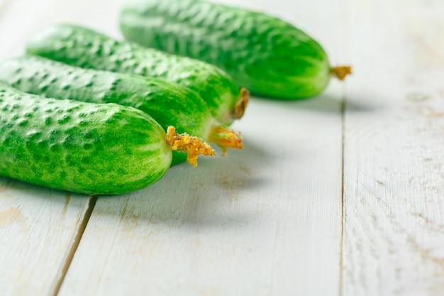 Cucumbers on wood